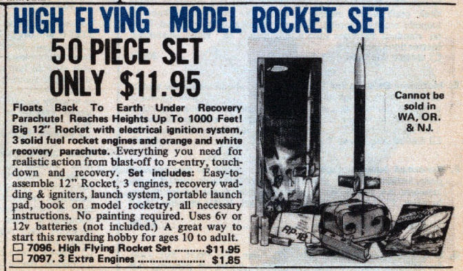 Johnson Smith Company Rocket Ad 1979